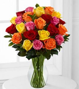 Mixed 2 Dozen Long Stem Roses - VASE INCLUDED