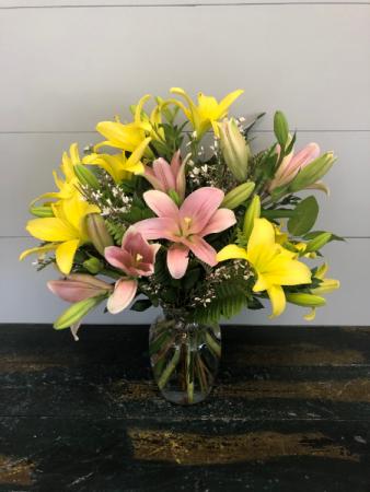 Mixed Asiatic Lilies Vase Arrangement