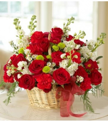 Mixed Basket for Sympathy - Red Arrangement