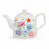 Mixed Blooms Tea Pot w/matching cup burton + Burton