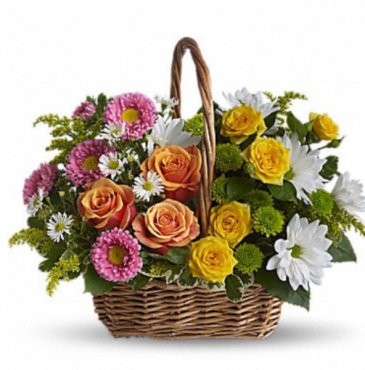 Mixed bright and cheery basket  Basket