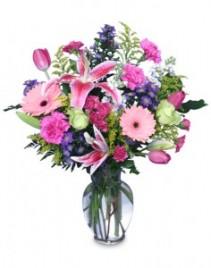 Mixed Bright Cheerful Flowers Vase Arrangement