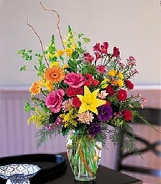 Mixed bright garden Vased bouquet