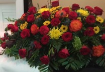 Mixed Casket Spray with Roses Sympathy