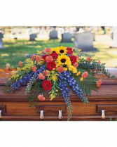 Mixed Casket Spray with Sunflowers Casket Spray