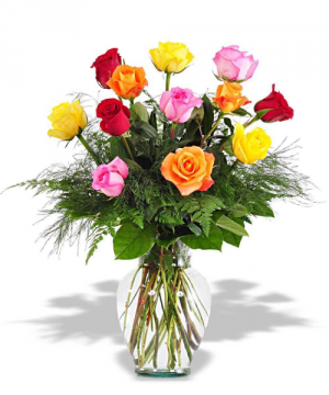 Mixed Color Dozen Rose Arrangement Roses in Tulsa, OK | THE WILD ORCHID FLORIST