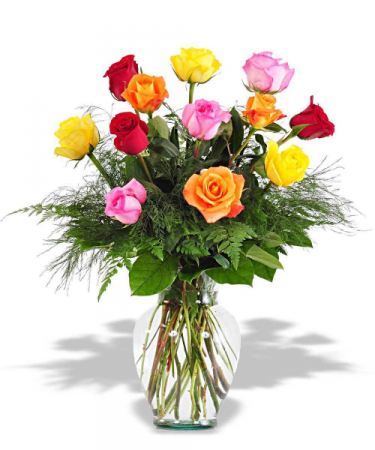 Mixed Color Dozen Rose Arrangement Roses