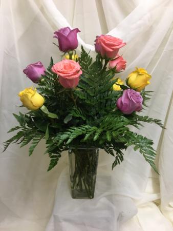 Mixed Color Dozen Roses