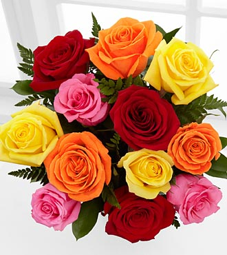 MIXED COLOR ROSE VASE ** Colors May Vary!