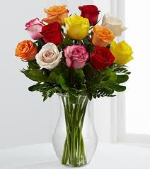 MIXED COLOR ROSES Vase Arrangement