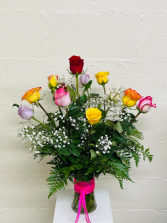 Mixed Color Roses Dozen Roses