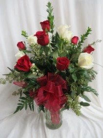 Mixed Dozen Roses Fresh Vased Arrangement