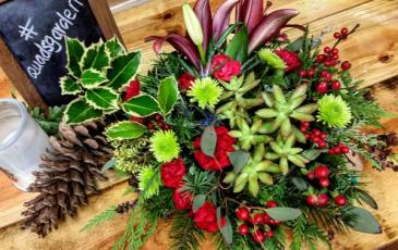 Crystal Keepsake Mixed floral and succulent arrangement