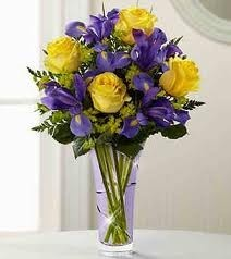 Carl Alan Floral Designs LTD & NB 12-Mixed flower arrangement in a tall vase (flowers and colors ...