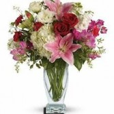 BS 7-Mixed flower arrangement in a tall vase (Flowers and colors may vary)
