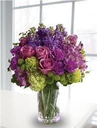 Carl Alan Floral Designs LTD & B 15-Mixed flower arrangement in a tall vase (Flowers and colors may ...