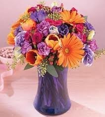 JB 14 Mixed Flower Arrangement In A Tall Vase (flowers And Colors May Vary