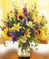 GW 3-Mixed flower arrangement in a tall vase (Flowers and colors may vary)