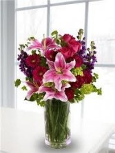 B 6-Mixed flower arrangement in a vase (Flowers and colors may vary)