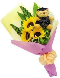 g 5 mixed flower presentation bouquet teddy bear flowers colors