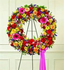Mixed Flower Wreath Funeral Flowers