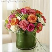 JB 4-mixed flowers in a compact arrangement (Flowers and colors may vary)