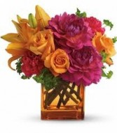 Th 3-Mixed flowers in a compact vase arrangement Flowers and colors may vary