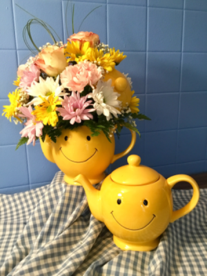 Mixed Flowers in Smile Teapot  **Margots Delivery Radius only** in Prospect, CT | MARGOT'S FLOWERS & GIFTS