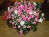 Mixed Flowers Pink (C12) Casket Spray