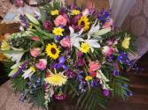 Mixed Garden Casket Spray Funeral