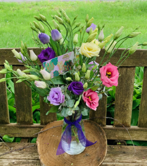 Mixed Lisianthus Vase  Java House Gift Card in Iowa City, IA | Every Bloomin' Thing