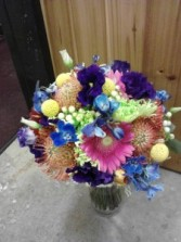Mixed Mardigras Color Bouquet Hand Tied Bouquet