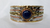 Mixed Metal Cuff Bracelet - blue stone Gift Item