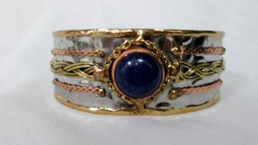 Mixed Metal Cuff Bracelet - blue stone Gift Item