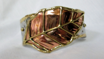 Mixed Metal Cuff Bracelet - leaf Gift Item