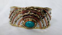Mixed Metal Cuff Bracelet - turquoise stone Gift Item