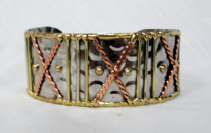 Mixed Metal Cuff Bracelet - x's & dots Gift Item