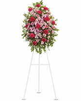 Mixed pink standing spray Funeral Tribute
