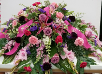 Mixed Pinks, Purples Casket Spray