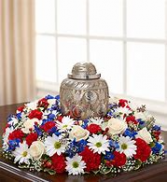 Mixed Red White & Blue Tribute Urn Arrangement