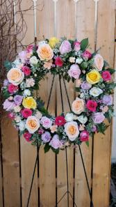 Mixed rose Sympathy Wreath