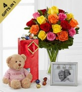 Mixed roses Picture frame & Bear Bright
