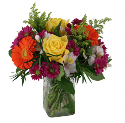 Mixed Fall  Brights Bouquet  Cube vase