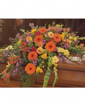 Mixed Summer Casket Spray with Gerbera Casket Spray