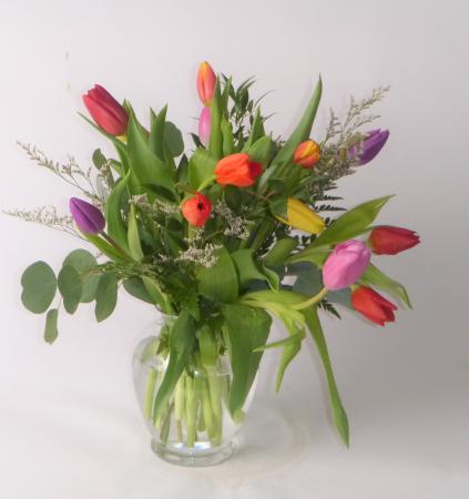 Mixed Tulip Vase vase arrangement