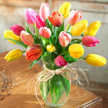 Mixed Tulips Tulip Vase Arrangement