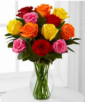 Mixed vased roses