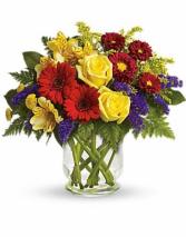 Mixed vibrant flowers  Vase