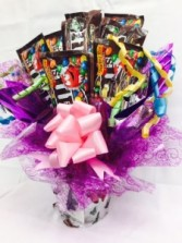 M&M' Citronella Candle Bouquet Candy Bouquet