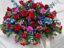 COLORFUL INSPIRATION Beautiful shades of reds purples and blues.Roses, delphinium, carnations, status  and more.
